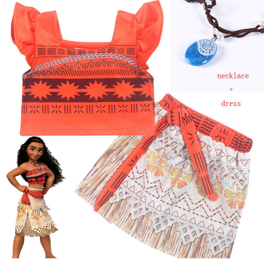 3-10 Years Old New  Summer Moana Vaiana Dresses Girls Cartoon Dress With Necklace  Cosplay Costumes  Girl Beach Clothes 9012