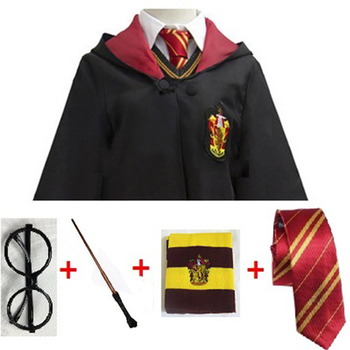 Cosplay Costume Potter Magic Robe Cape Suit Tie Scarf Wand Glasses Potter Cosplay Clothes Accessories Gift Kids Potter Cosplay