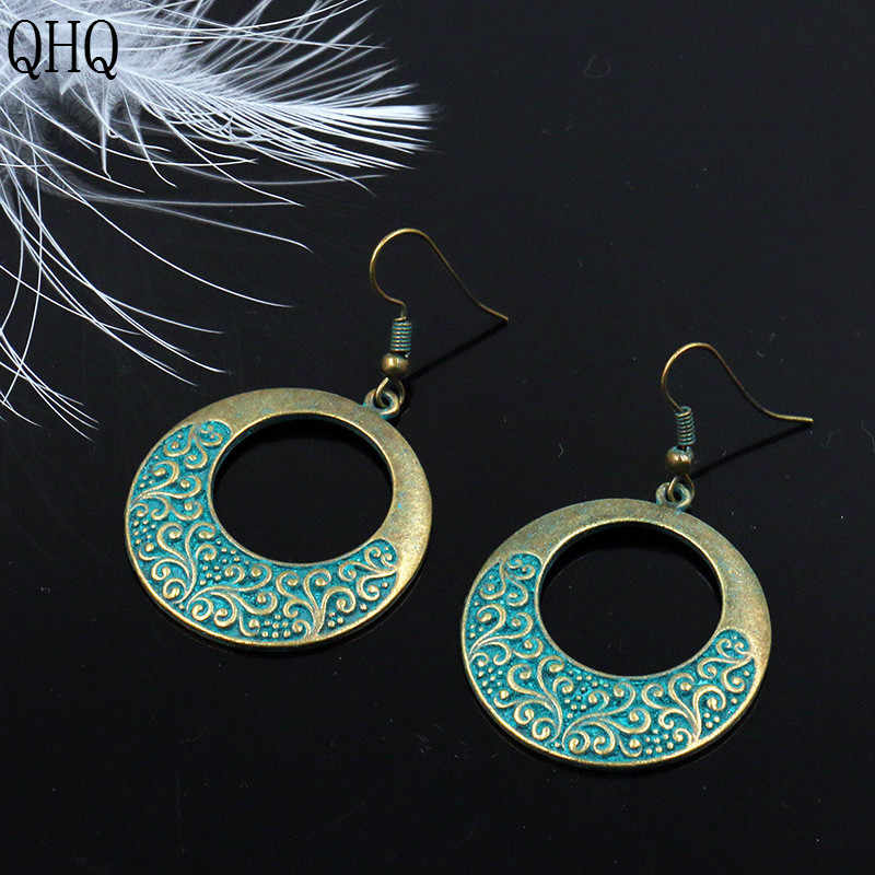 QHQ hoop ต่างหูวงกลมแหวน charm พู่ใหญ่รอบอุปกรณ์เสริมเครื่องประดับหญิงเครื่องประดับของขวัญผู้หญิง