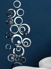 24 sztuk DIY 3D srebrne lustro akrylowe naklejki ścienne pierścień dekoracji wnętrz dekoracji wnętrz nowoczesne mody domu naklejki tanie i dobre opinie XINCHEN CN (pochodzenie) Oprawione SILVER Decorative Mirrors Sticker