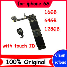 Clean icloud original motherboard for 16GB 64GB 128GB iphone 6S with / without touch ID mainboard Good working logic board+chips(China)