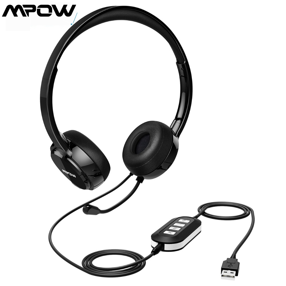 Mpow PA071 Noise Cancelling Headphones  Clear Sound With Mic amp In-line Control Wired Headset With USB 3 5mm Cable For Call Center