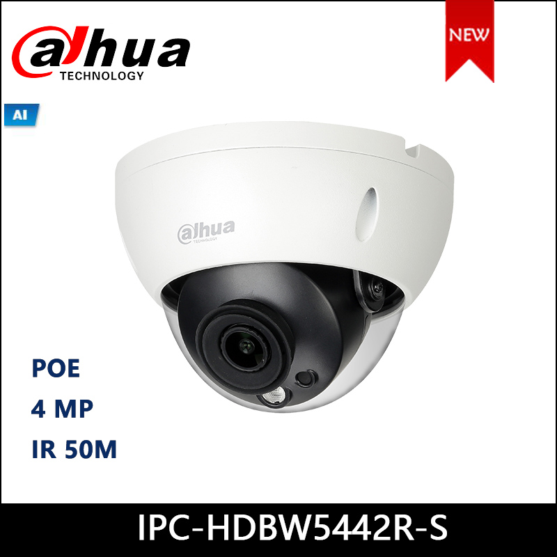 Dahua IP Camera IPC-HDBW5442R-S 4MP WDR IR Dome AI Network Camera Support POE Security Camera
