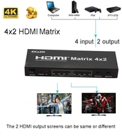 4K 30Hz HDMI Matrix 4X2 Switch Splitter Video Converter Selector with SPDIF Stereo Audio 4kX2K for PS3 PS4 XBOX DVD PC To HD TV