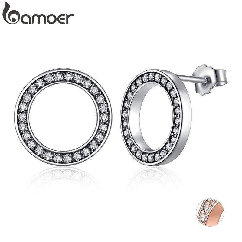 BAMOER Für Immer Klar CZ 925 Sterling Silber Kreis Runde Stud Ohrringe mit CZ Schmuck GESCHENK Ohrringe Bijoux PAS437