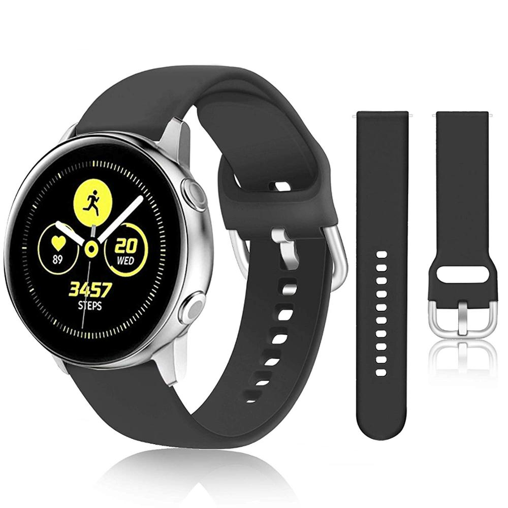 20mm Silicone Watch Band for Samsung Galaxy Watch 42mm Active2 40/44mm Soft Sport Watch Strap for Samsung S2 Classic Replacement