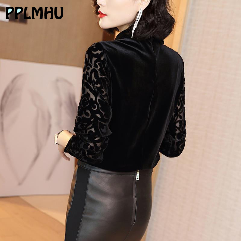 Lady Lace Print Velvet Blouse Plus Size Shirt For Women Black New Casual Wild Spring Long Sleeve Elegant Tops Slim Shirts Tunic