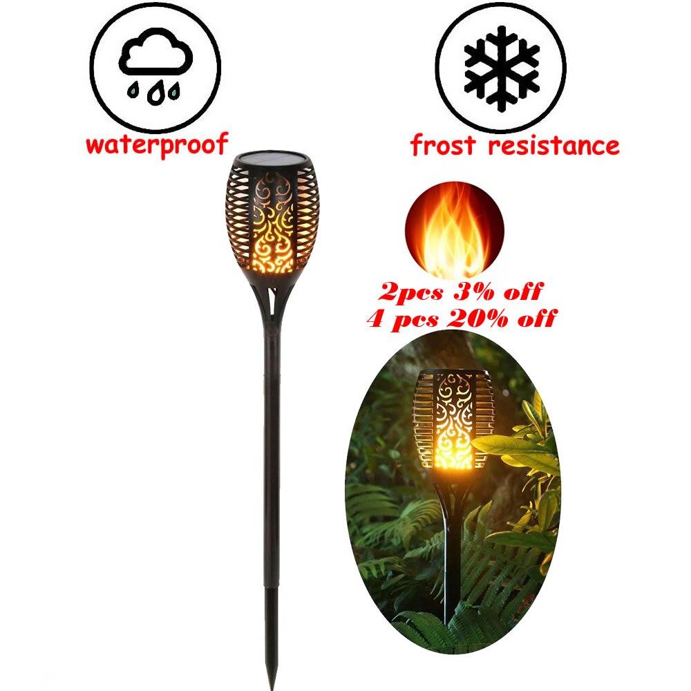 Solar 33LEDs Lawn Dancing Flame Torch Lights Radar Lamp Garden Flame Lamp Flickering Bulb Dancing Lawn Lamps Path Lighting Torch
