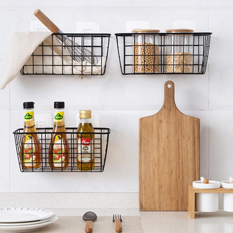 Wrought Iron Kitchen Storage Basket, Bathroom Wall Baskets