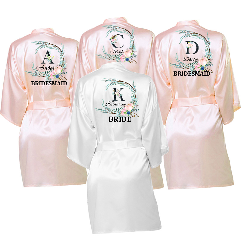 Personalized Custom Name  Gift Wedding Bride Team Robes Flower Print  Bridal Party Robes Bridesmaid Robes