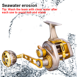 Image 4 - Rooxin Bait Casting Fishing Reel Full Metal Boat Sea Fishing Reel Saltwater Ocean Fishing Wheel Trolling Reel 15BB 30kg Drag