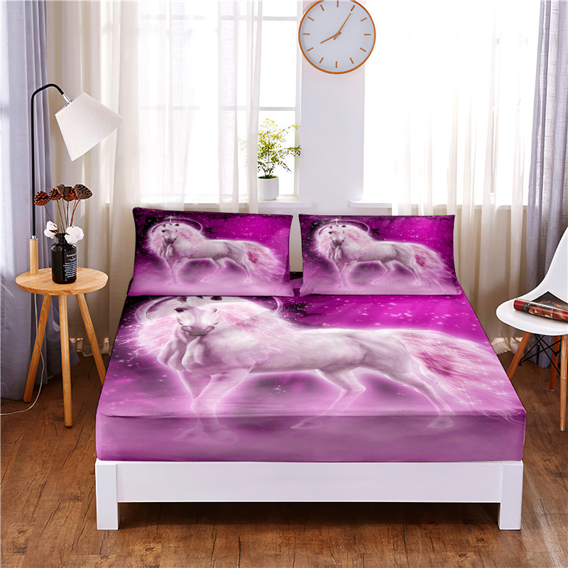 Pink Unicorn Printed 3pc Polyester  Fitted Sheet Mattress Cover Four Corners with Elastic Band Bed Sheet Pillowcases