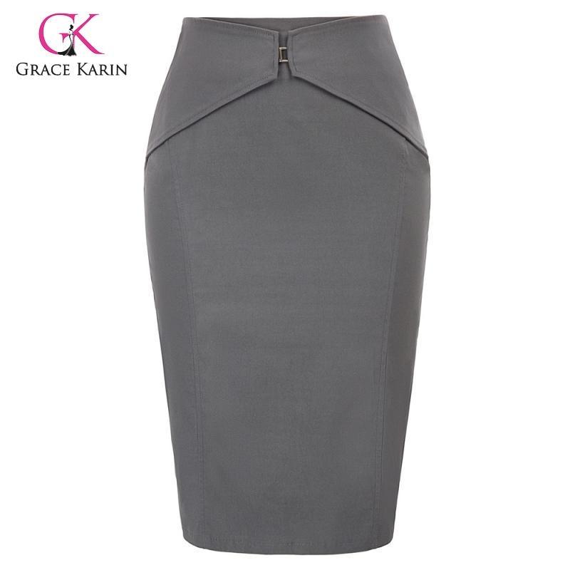 Grace Karin Women Elegant Pencil Skirt For Business Office Work Ladies Bodycon Back Split High Waist Stretch Skirts Knee Length