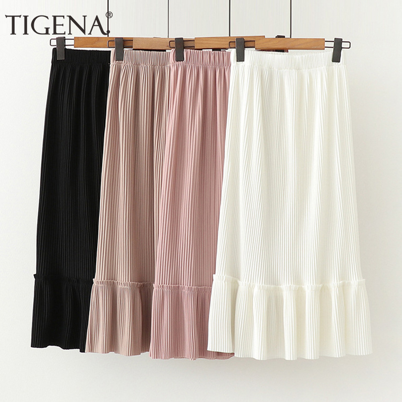 TIGENA Long Pleated Skirt Women Fashion 2020 Spring Summer Korean Elegant Ruffles Ladies Office Elastic High Waist Skirt Female