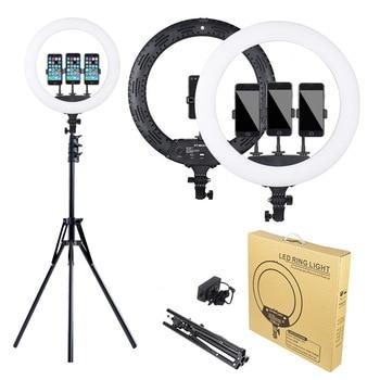 Iluminación de estudio fotográfico de 18 pulgadas, Anillo LED de luz, 3200-5600K 65W 416 Uds., lámpara de anillo regulable para fotografía con soporte de 2M para maquillaje y Video