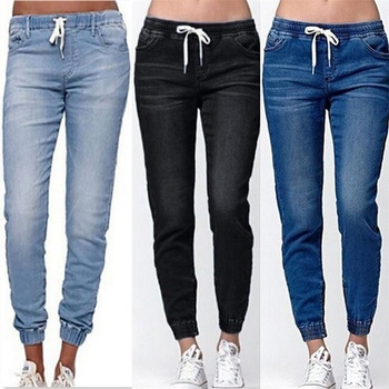 Mujeres, vaqueros de moda sólidos pantalones vaqueros de cintura elástica lápiz recto Pantalones de las mujeres pantalones casuales ropa de las mujeres 1