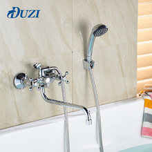 Double hole double handle chrome polished shower tap with hand