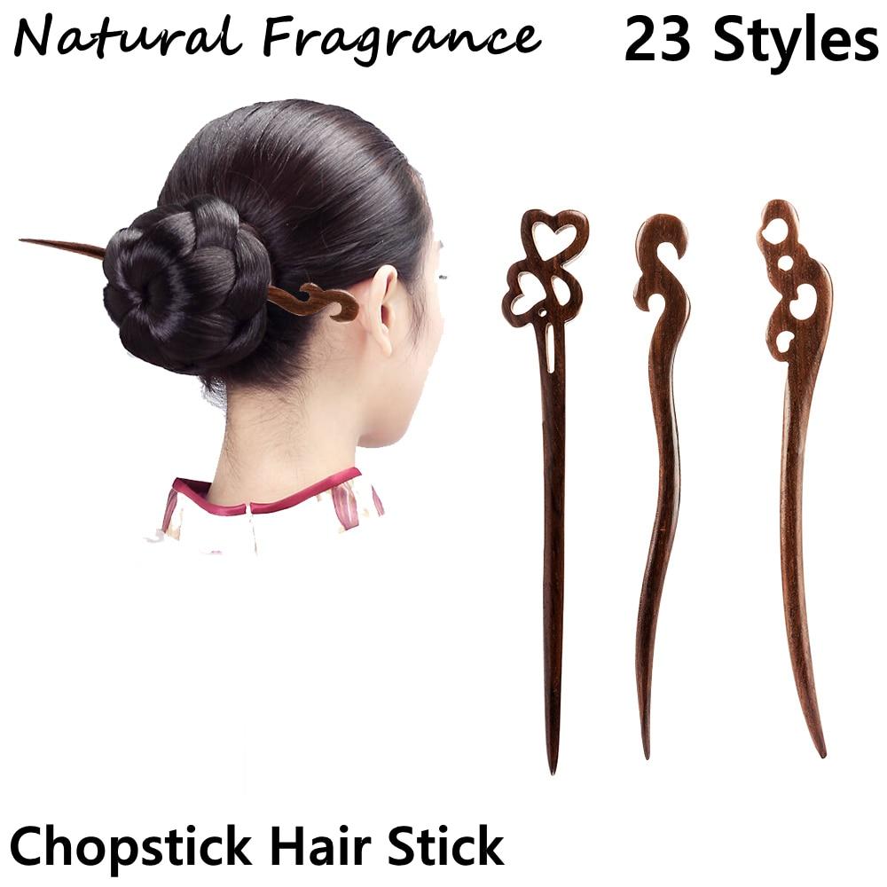 1 шт., китайская ретро-заколка из сандалового дерева и черного дерева, ручная резьба, коническая палочка для волос, Шпилька для волос, Женские...