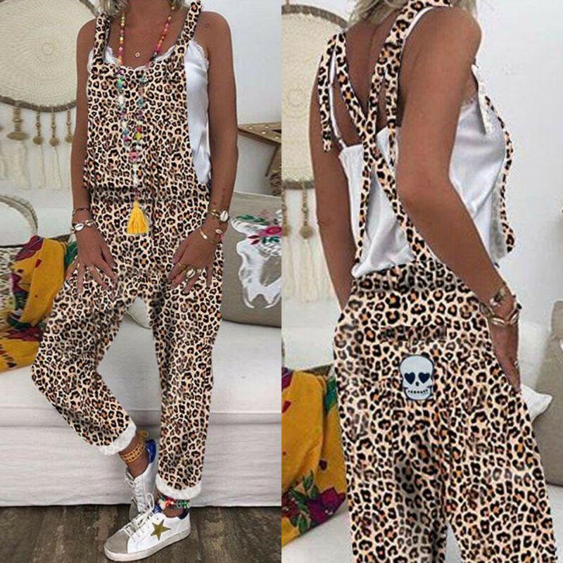 Women Leopard Print Jumpsuits One Piece Jumpsuit Backless Dungarees Pants Wide Leg Overalls Plus Size Rompers Playsuit 3XL