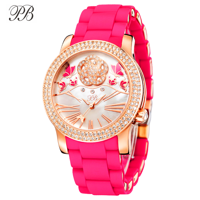 PB Watch Women Butterfly Flower Nature Pearl Dial Watches Women Crystal Pink Silicone Strap Waterproof Quartz Montre Femme