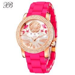 PB orologio donna farfalla fiore natura perla oro orologi donna in silicone cristallo cinturino rosa quarzo impermeabile lusso