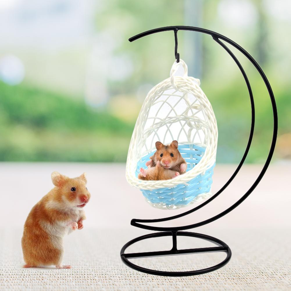 Swing Nest Cages Hanging bed Hamster Hammock Iron Garden Decorative Parrot Basket Small Pet Cradle Weaving Nest Hanging Bed(China)