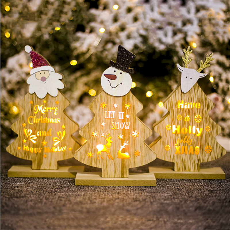 1PC Christmas Tree Shape Wooden Decoration DIY Santa Claus Snowman Xmas Tree Deer Ornaments Christmas Party Decoration Kids Gift in Pendant Drop Ornaments from Home Garden