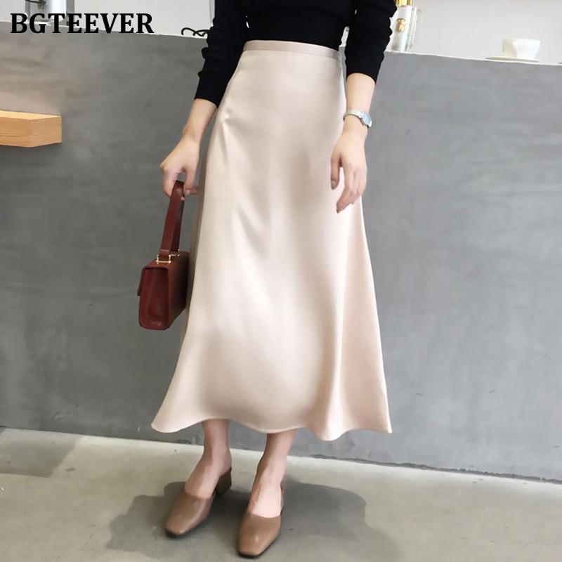 BGTEEVER Casual Soft Office Ladies Skirts Women Elegant High Waist Zipper Satin Female Skirt Mid-length 2020 Spring Summer