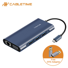 "CABLETIME USB רכזת כדי HDMI סוג C פ""ד טעינת USB 3.0 SD/TF כרטיס קורא VGA AUX3.5mm מתאם כהה כחול עבור Huawei Matebook X C257"