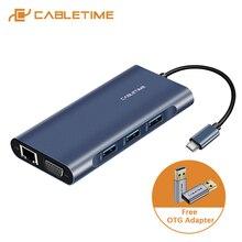 Cabletime hub usb para hdmi tipo c pd carregamento usb 3.0 sd/tf leitor de cartão adaptador vga aux3.5mm azul escuro para huawei matebook x c257