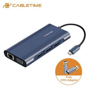 Image 1 - Cabletime hub usb para hdmi tipo c pd carregamento usb 3.0 sd/tf leitor de cartão adaptador vga aux3.5mm azul escuro para huawei matebook x c257