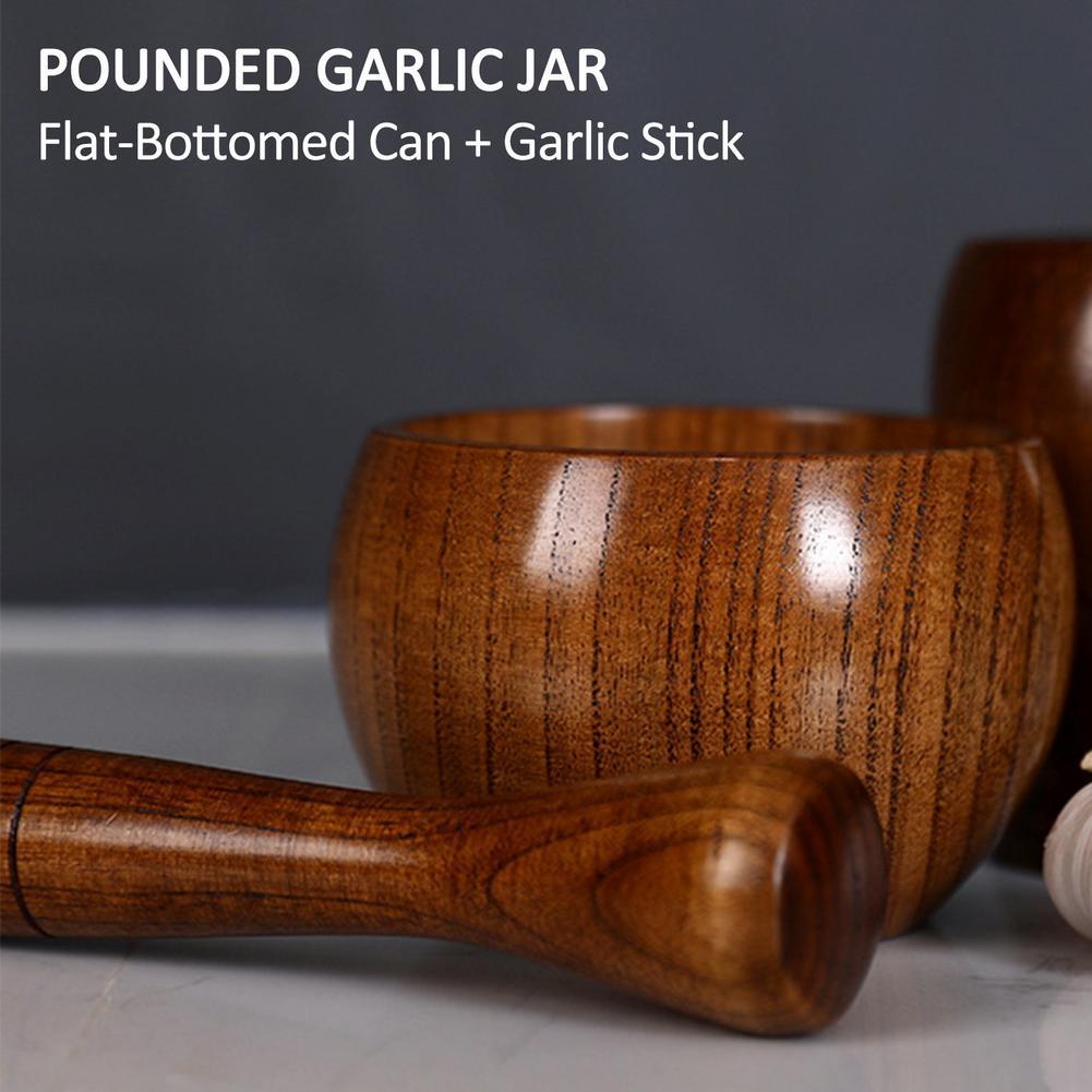 Household Grinder Pressing Garlic Mashed Garlic Mashing Pot Manual Mashing Medicine Pot Jujube Wood Pounding Garlic