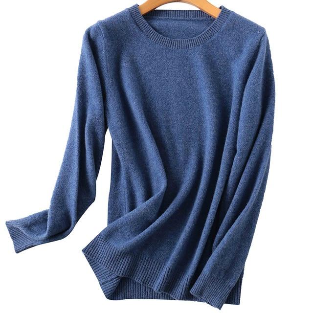 100% Merino Wool Cashmere Sweater Women 2020 Autumn Winter Warm Soft O-Neck Long Sleeve Knitted Pullover Jumper Femme Sweater 3