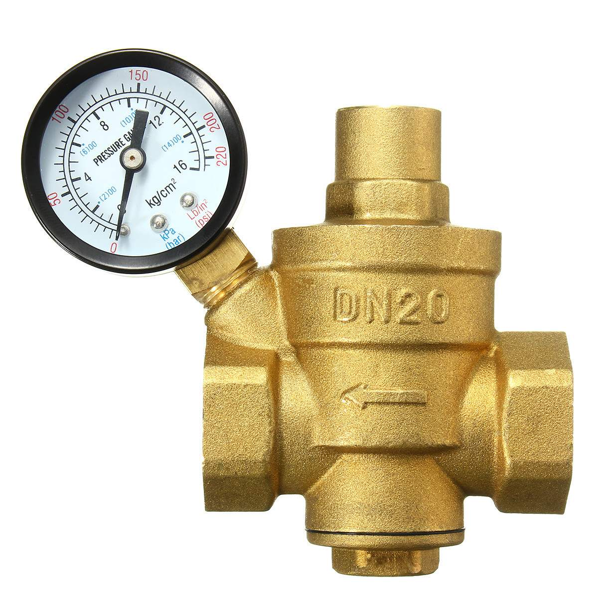 Adjustable Water Heater Pressure Reducing Valve With Gauge Meter Safety Relief Valve Pressure Regulator Controller 1/2