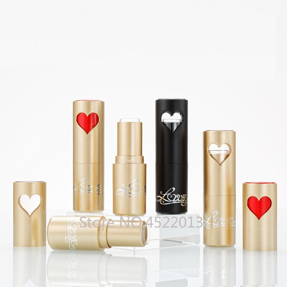 10/30/50pcs Empty Lipstick Tube Cylinder Black Gold Heart 12.1mm Refillable Lipstick Shell Cosmetics Container DIY Material