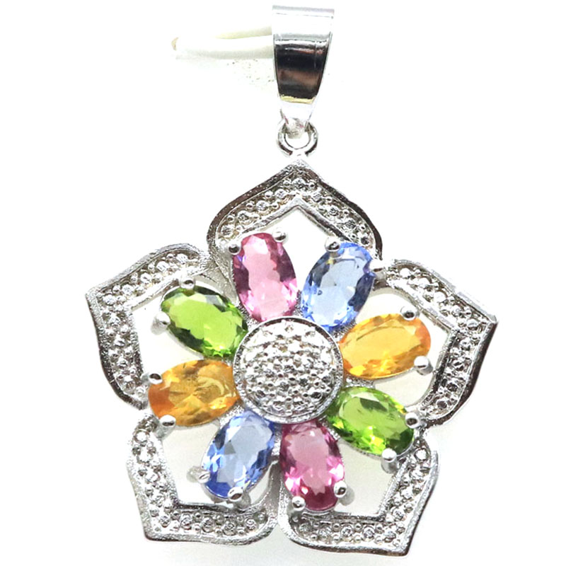 36x26mm Multi Color Flower Shape Tourmaline Peridot Citrine Violet Tanzanite Gift For Woman's 925 Silver Pendant
