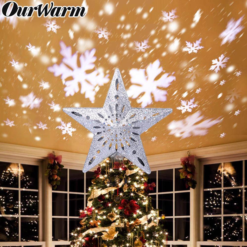 Ourwarm 3d glitter star led árvore de natal topper com built-in rotativo floco de neve branco projetor laser ornamento da árvore de natal