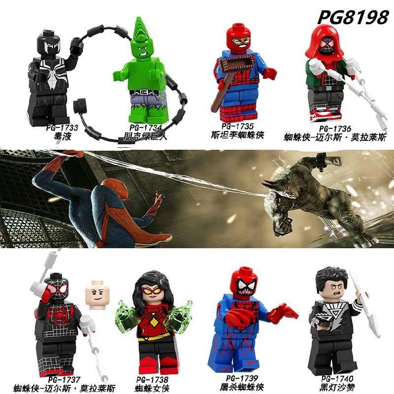 Enkele Verkoop Bouwstenen Super Heroes Venom Punk Hulk Spiderman Carnage Zwarte Lantaarn Shazam Cijfers Speelgoed Voor Kinderen PG8198