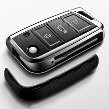 2020 ТПУ чехол для автомобильного ключа, подходит для Volkswagen VW Golf 7 mk7 Seat Ibiza Leon FR 2 Altea Aztec для Skoda Octavia, полное покрытие
