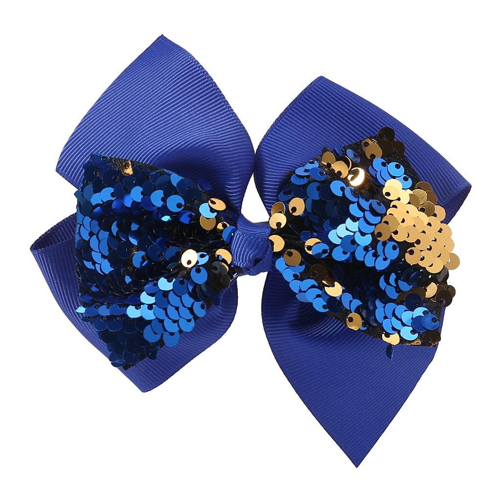 Заколка для волос для малышей, девочек, бант, Блестящие Блестки, милые аксессуары для принцессы, детские шпильки D08C - Цвет: Синий