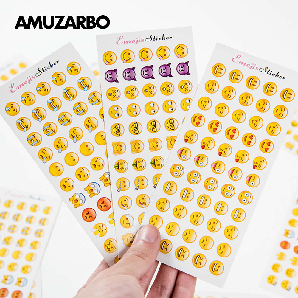 12 Sheets (660 Pcs) Stickers Kawaii Smile Face Stickers DIY Album Note Scrapbooking Mini Sticker Kids Gift Stationery