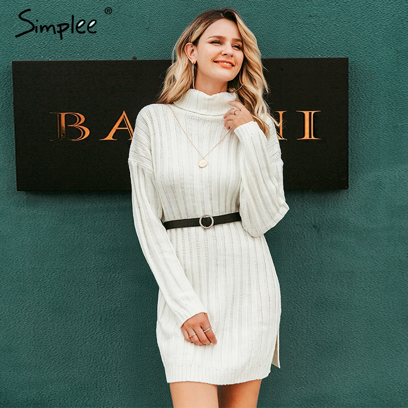 Image 4 - Simplee Elegant knitted dress women Autumn turtle neck female white sweater dress Sexy holiday solid ladies winter teal vestidos-in Dresses from Women's Clothing