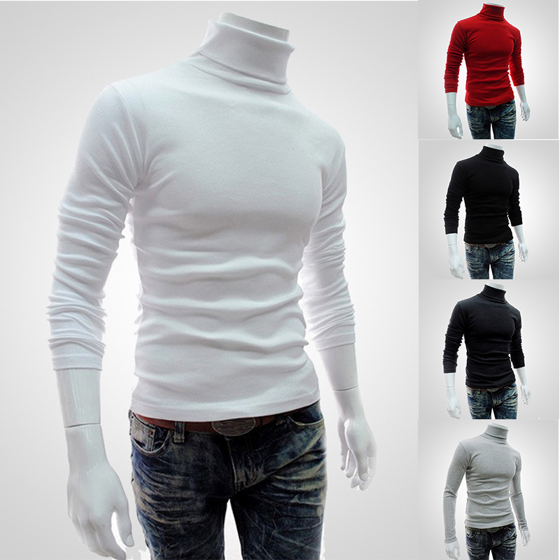 New Autumn Winter Men'S Sweater Men'S Turtleneck Solid Color Casual Sweater Men's Slim Fit Knitted Cotton Pullovers