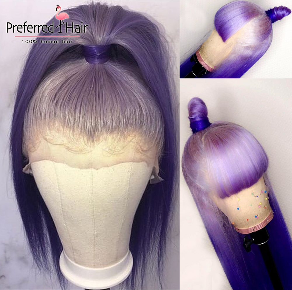Preferred Remy Lace Front Wig Pre Plucked Purple Ombre Human Hair Wig With Bangs Transparent Lace Wigs For Black Women