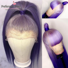 Preferred Remy Lace Front Wig Pre Plucked Purple Ombre Human