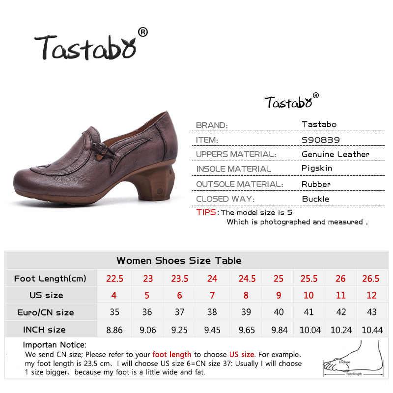 Tastabo manuel Hakiki Deri yüksek topuk kadın çizmeler Siyah kahverengi Vintage doku S90839 Günlük kadın ayakkabısı Rahat astar