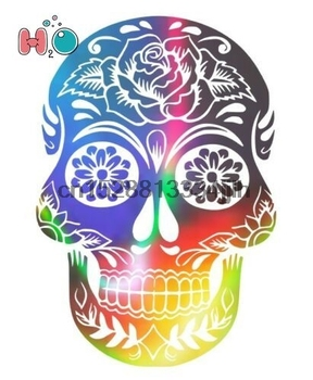Cool sugar skull iridescent holographic laptop Car Van Sticker decal image