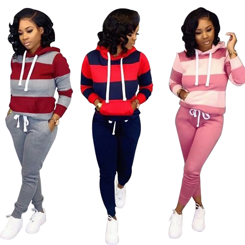 Autumn Tracksuit Long Sleeve Thicken Hooded Sweatshirts Casual Set Women Sets Clothing 2 Piece Outfits Tops+Pants Sporting Suit