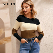 Multicolor Rib Knit Skinny Jumper