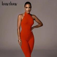 Hawthaw – combinaison sans manches pour femmes, dos nu, moulante, couleur unie, combishort, Streetwear, automne été 2020